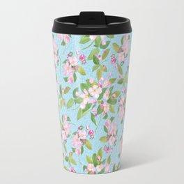 Pink Apple Blossom on Sky Blue Leafy Background Travel Mug