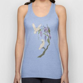 Cockatoos and Wisteria Unisex Tank Top