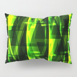 Luxurious green stripes and metallic triangles of blades of grass create abstraction and glow. Pillow Sham