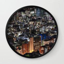 Tokyo Buildings at Night Wall Clock