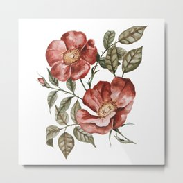 Red Floral Painting Metal Print