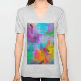 splash painting texture abstract background in blue orange pink yellow green Unisex V-Neck