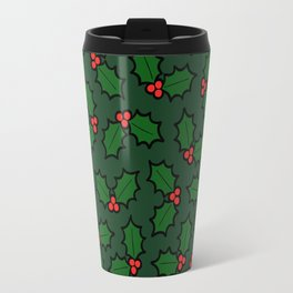 Holly Leaves and Berries Pattern in Dark Green Travel Mug
