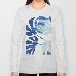 Navy Blue Tropical Leaf Long Sleeve T-shirt