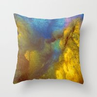 golden Throw Pillows featuring Golden by Benito Sarnelli