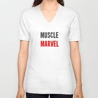 workout V-neck T-shirts featuring Workout Collection: Muscle by Kat Mun