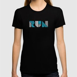 Run - Teal & Silver Geometric Shapes T-shirt