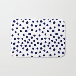 Mini dots painterly brushstrokes boho modern indigo blue and white preppy nautical dorm college art Bath Mat