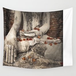 Buddha with flowers Wall Tapestry