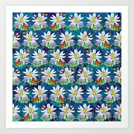 Flowers and bugs pattern Art Print