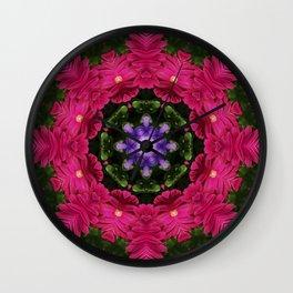 Hot Pink Gerbera And Cool Blue Viola Kaleidoscope Wall Clock