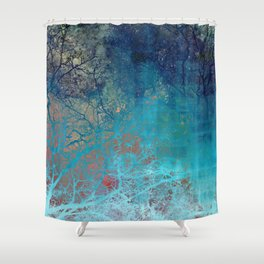On the verge of Blue Shower Curtain