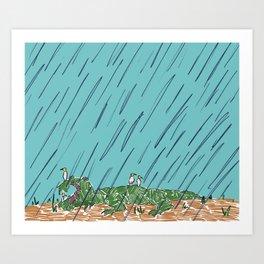Rainy Gator Art Print