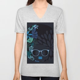 Afro Diva : Sophisticated Lady Teal Unisex V-Neck