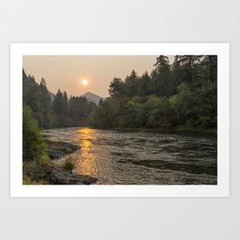 Fire Sunrise on McKenzie River Art Print