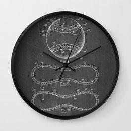 Baseball Patent - Softball Art - Black Chalkboard Wall Clock
