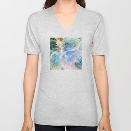 Pastel Stalagmites Colliding in Space Cave Unisex V-Neck