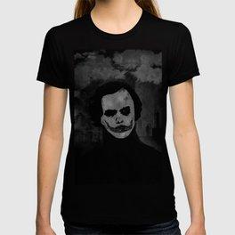 Joker Heath Ledger painting black and white T-shirt