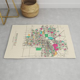 Colorful City Maps: Bakersfield, California Rug