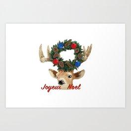 Joyeux noel - French Merry Christmas deer Art Print