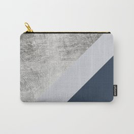 Modern minimalist navy blue grey and silver foil geometric color block Carry-All Pouch