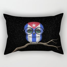 Baby Owl with Glasses and Cuban Flag Rectangular Pillow