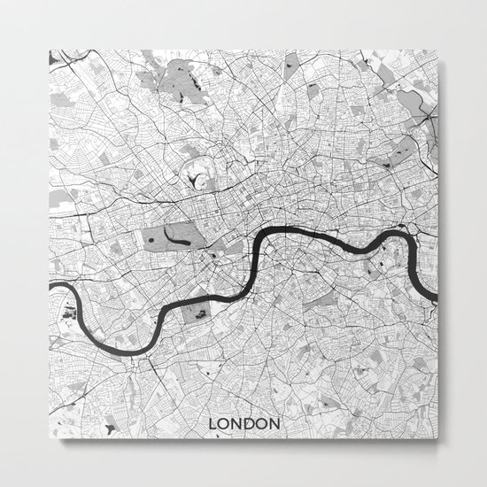 London Map Gray Metal Print