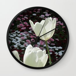 Close-up shot of white tulips and common daisies Wall Clock