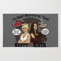 buffy the vampire slayer Area & Throw Rugs featuring Buffy vs River by Karen Hallion Illustrations