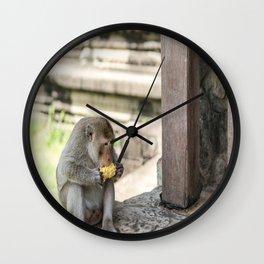 Angkor Wat Long-Tail Macaque (Monkey), Cambodia Wall Clock