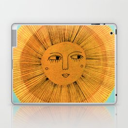 Sun Drawing Gold and Blue Laptop & iPad Skin