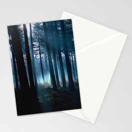 Haunted forest- winter mist in forest Stationery Cards