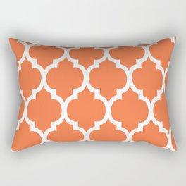 Morocco Orange Coral and White Lattice Grid Pattern Rectangular Pillow