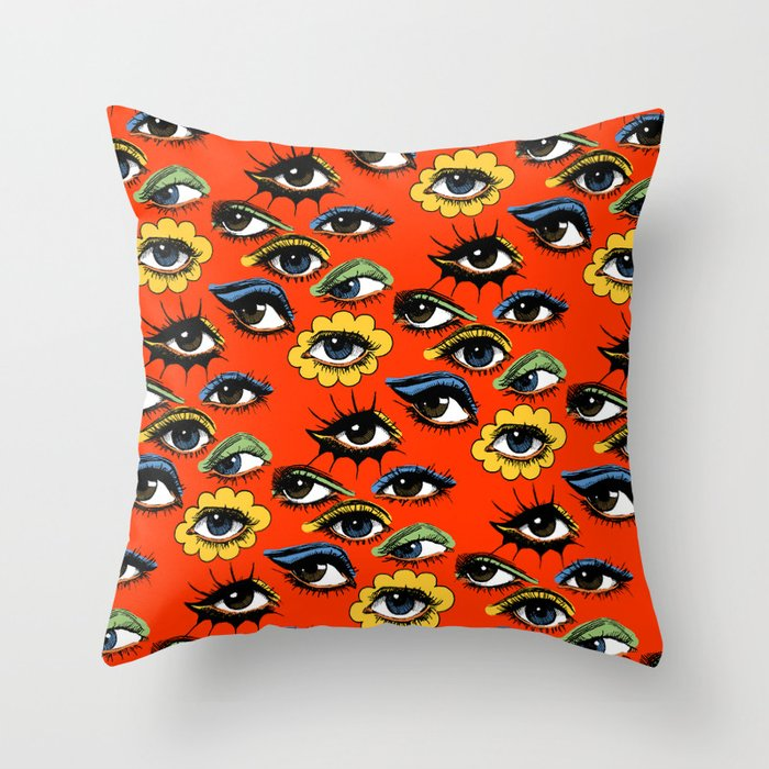 60s Eye Pattern Throw Pillow