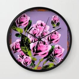 Pink -Black Color  Roses  Lavender Garden Pattern Blue Art Wall Clock