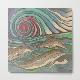Dolphin Wave by Julie Oakes Metal Print