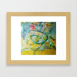 Sumie flowers on the run Framed Art Print