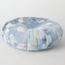 Shades Of Blue Cubes Pattern Floor Pillow