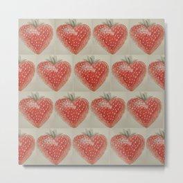 Watercolor Strawberry Heart Metal Print