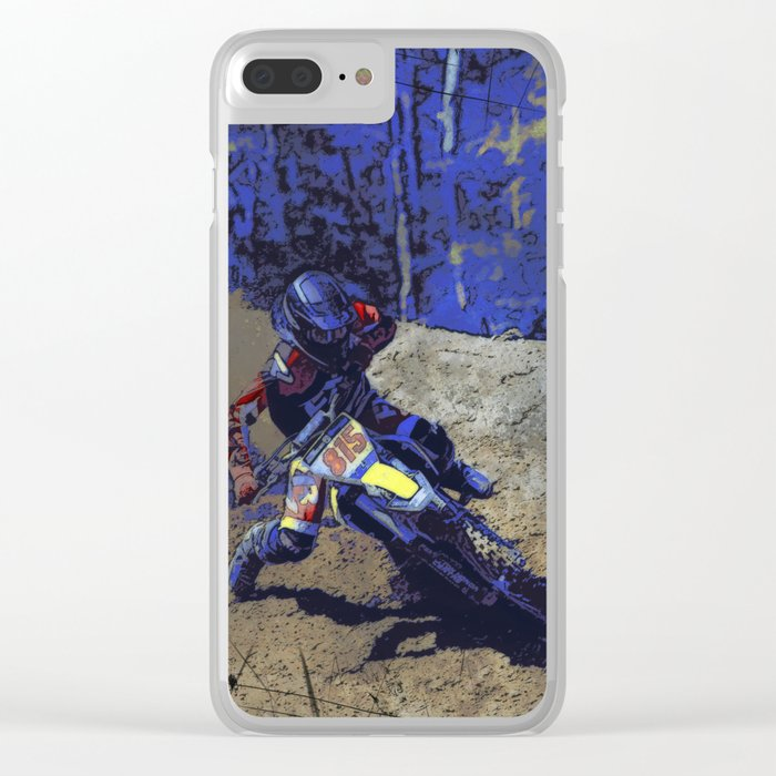 Leaning In - Motocross Racer Clear iPhone Case