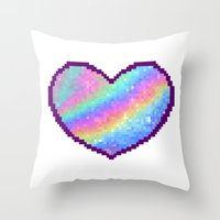 holographic Throw Pillows featuring Holographic Heart by Sombras Blancas Art & Design