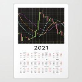 Candlestick chart calendar 2021 Art Print