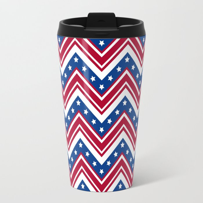Studio Dalio - Red White and Blue Zigzag Stripes Travel Mug