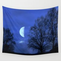 kindle Wall Tapestries featuring Moon between Trees  - JUSTART © by JUSTART