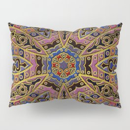 Mandala Gold Embossed on Faux Leather Pillow Sham