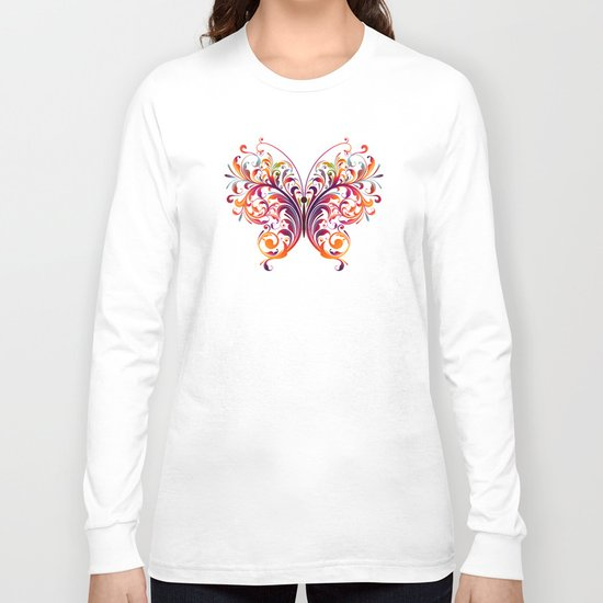 Multicolor Butterfly Long Sleeve T-shirt