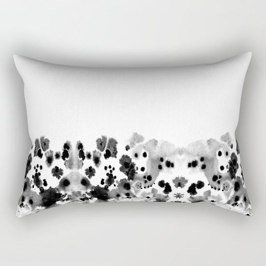 Mona - Black and White Painted Spots, painterly, abstract, monochrome cell phone case Rectangular Pillow