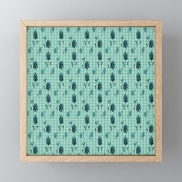 country blue flowers pattern Framed Mini Art Print