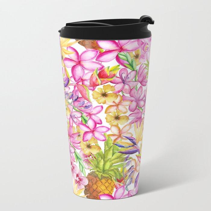 Tropical flower and pineapple watercolor art Metal Travel Mug