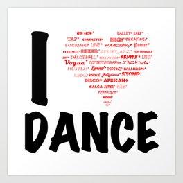 I Heart Dance (black) Art Print